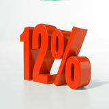 12 rött procent tecken Arkivfoton