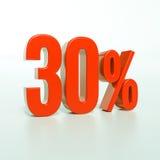 30 rött procent tecken Arkivfoto