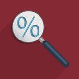 Rött procenttecken på en svart bakgrund Royaltyfri Fotografi
