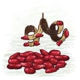 Rött pryder med pärlor Royaltyfri Foto