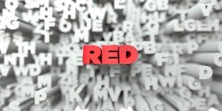 RÖTT - Röd text på typografibakgrund - 3D framförde fri materielbild för royalty royaltyfri illustrationer