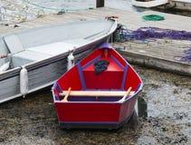 Rött radfartyg i havsväxt i Maine Royaltyfri Fotografi