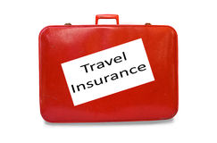 rött resväskalopp för försäkring Royaltyfria Foton