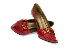 rött s shoes kvinnan Arkivfoto