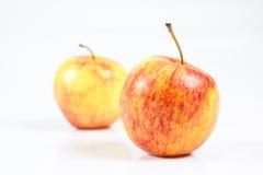 Rött saftigt äpple som isoleras mot vit bakgrund Royaltyfri Foto