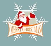 Rött Santa Claus emblem med snöflingan Royaltyfri Foto