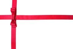 Rött satängband med bowen Royaltyfri Bild
