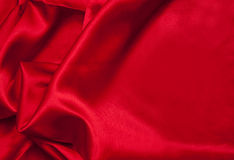 Rött satängtyg Fotografering för Bildbyråer