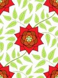 rött seamless för blommamodell Arkivfoton