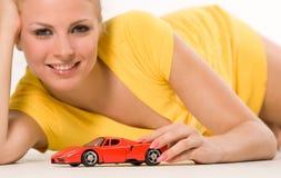 rött sexigt barn för bilflicka Arkivbild