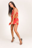 rött sinnligt för klänningflicka Royaltyfri Foto