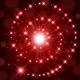 Rött sken med gnistrandet som bildar spiral bakgrund Fotografering för Bildbyråer