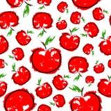 Rött skissa den sömlösa modellen för äpplet Royaltyfria Bilder