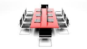 Rött skrivbord för kontor vektor illustrationer