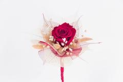 Rött slut för rosbröllopbukett upp Royaltyfri Fotografi