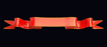 Rött smalt band med guld- list som är användbar som emblem eller emblem Royaltyfria Foton