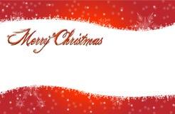 Rött Snowing kort för glad jul Fotografering för Bildbyråer