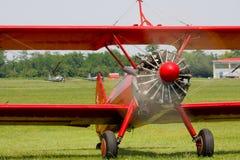 rött stearman för biplane Royaltyfria Bilder