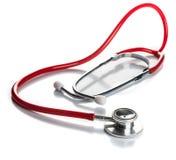 Rött stetoskop Arkivbild