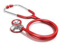 Rött stetoskop Royaltyfri Fotografi