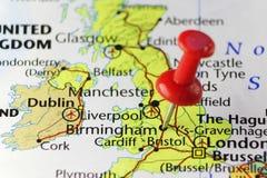 Rött stift på Birmingham, England, UK Arkivbilder