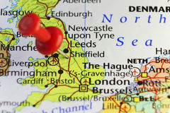 Rött stift på Sheffield, England, UK Royaltyfri Bild
