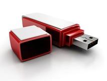 Rött stilfullt USB-exponeringsdrev på vit bakgrund Royaltyfri Bild