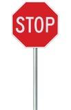 Rött stopptecken, isolerad för varningsSignage för trafik reglerande oktogon, vit åttahörnig ram, metallisk stolpe, stor detaljer Royaltyfri Bild