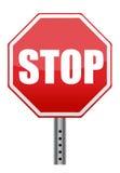 Rött stoppvägmärke Fotografering för Bildbyråer