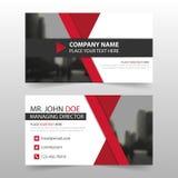 Rött svart kort för företags affär, mall för känt kort, horisontalenkel ren orienteringsdesignmall, affärsbanerkort för vektor illustrationer