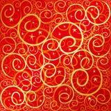 rött swirlstar för guld Royaltyfri Bild