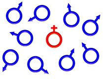 rött symbol för kvinnligbild en Royaltyfri Foto