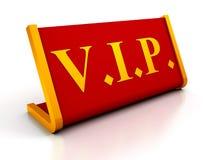 Rött tabellplattatecken av VIP på vit bakgrund Arkivfoto