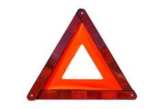 Rött tecken för nöd- stopp som isoleras på vit arkivfoton