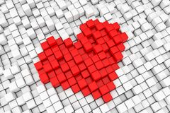 Rött tecken för PIXEL för kub för hjärtakvarter framförande 3d Royaltyfri Foto