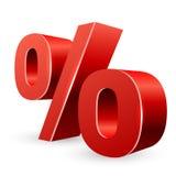 Rött tecken för procent 3D Royaltyfri Foto