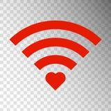 Rött tecken Wifi med röd hjärta som isoleras på genomskinlig bakgrund vektor illustrationer