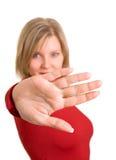 rött teckenstopp för gest Royaltyfri Foto