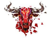 Rött tjurhuvud för låg polygon med geometrisk modellvektorillustr stock illustrationer