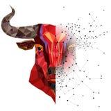 Rött tjurhuvud med den geometriska modellvektorillustrationen Royaltyfri Fotografi