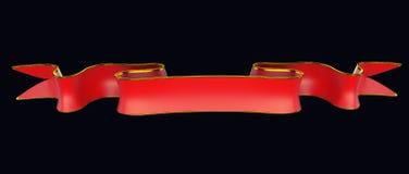Rött tomt band med guld- list som är användbar som emblem eller emblem Arkivbild