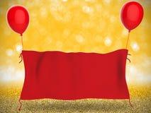 Rött torkdukebaner som hänger med röda ballonger Arkivbild