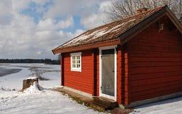 rött trä för kabin Royaltyfri Fotografi