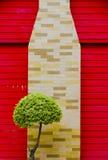 Rött trä och färgrik textur för tegelstenvägg Fotografering för Bildbyråer