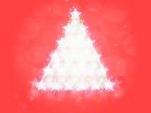 Rött träd för julbakgrundsstjärnor Arkivbild