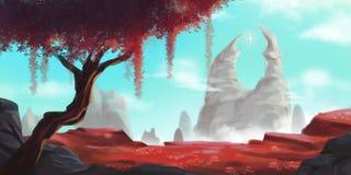 Rött träd och vitt berg Fiktionbakgrund Begreppskonst royaltyfri illustrationer