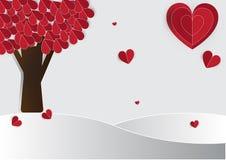 Rött trädhjärtapapper Arkivfoto