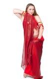 rött traditionellt för dansareklänning Arkivbilder