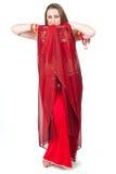 rött traditionellt för dansareklänning Royaltyfri Fotografi