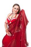 rött traditionellt för dansareklänning Fotografering för Bildbyråer